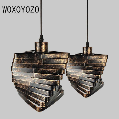 FGHGF Industrial Vintage Creative Iron Pendant Light Unique Personality Hanging Lamp Fixture For Restaurant Coffee Shop Bar
