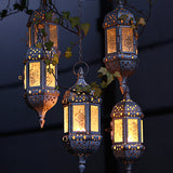 Vintage Metal Hollow Candle Holder Articles  Moroccan European Candlestick Hanging Lantern Wedding Decor 9*9*23cm