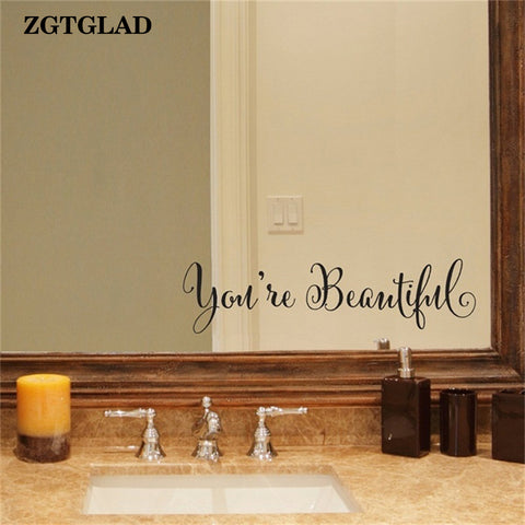 ZGTGLAD 1 Set You're Beautiful Wall Stickers Living Room Carving Wall Decal Sticker Mirror Decor Home Window Decoration