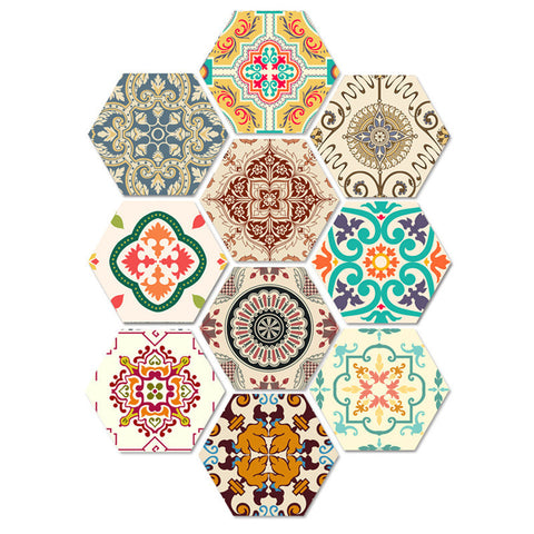 20x23cm DIY Tile Stickers Colorful Kitchen Bathroom Waterproof Wall Sticker 10pcs Home Decor Art Decals Floor Tiles Wallpapers
