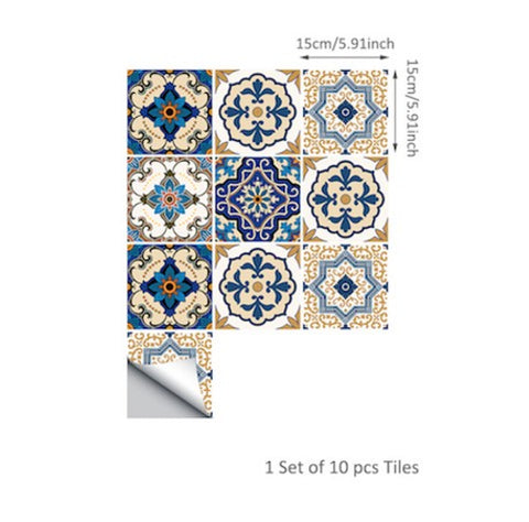 Funlife 15*15cm/20*20cm Moroccan Tiles PVC Waterproof Self adhesive Wallpaper Furniture Bathroom DIY Arab Tile Sticker