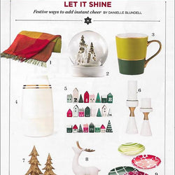 "Family Circle Magazine – Robert Siegel's Gold Banded Milk Vase a ""Festive [way] to add instant cheer"" this holiday season"