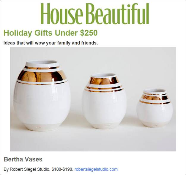 HouseBeautiful.com features Robert Siegel Studio's Bertha Vases