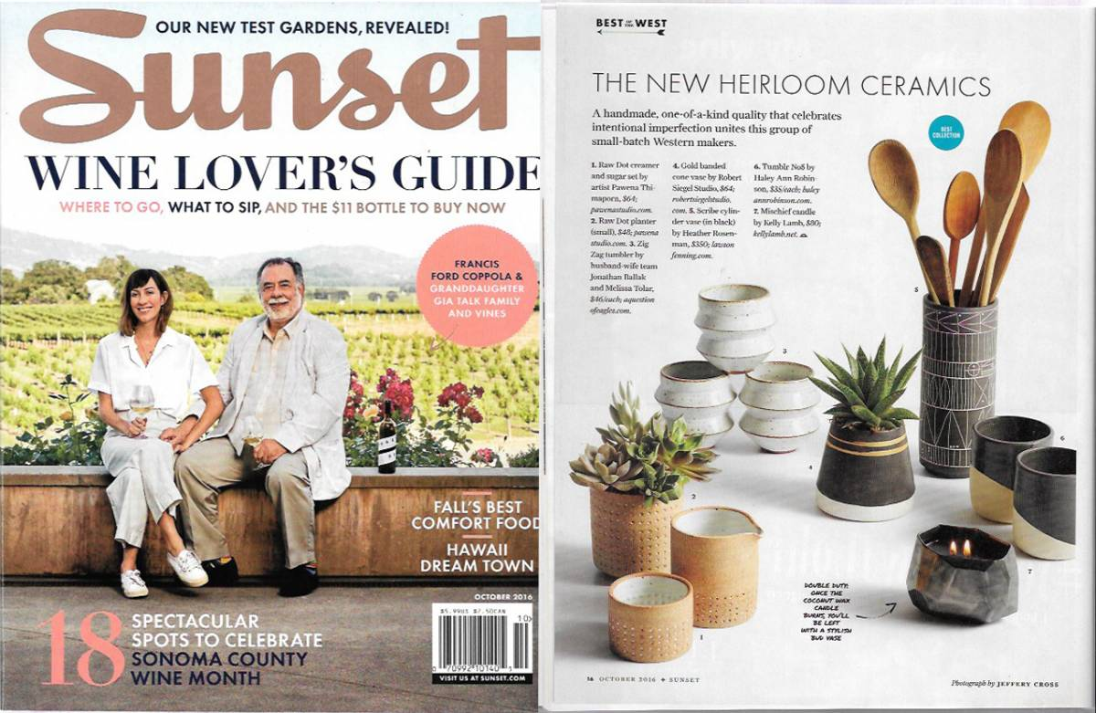 Sunset Magazine shows off Gold Banded Cone Vases from Robert Siegel Studio