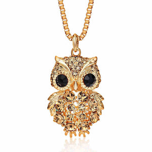 Retro Antique Alloy with Rhinestone Crystal Owl Long Necklace