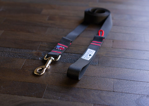 Black Dog Leash with Red Signature Stitching