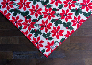 Dog Bandana/ Red Poinsettia Dog Bandana/ Dog Bandana Collar/ Dog Clothes/ Dog Scarf/ Puppy Bandanas/ Holiday Accessories/ Christmas