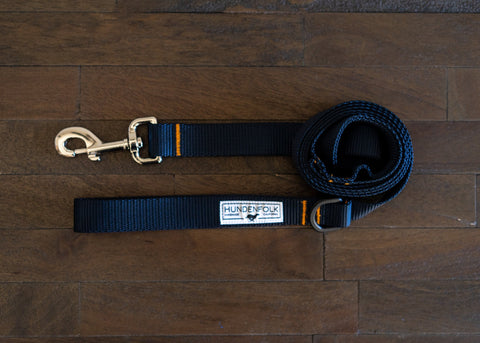 Dog Leash - Navy with Orange Stitching and Traffic Lead