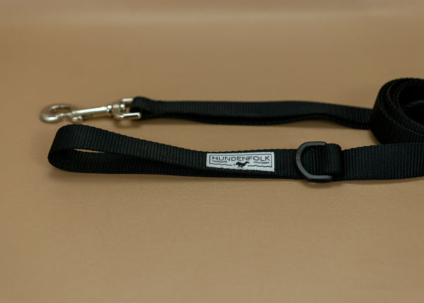 Dog Leash - Black with Traffic Lead