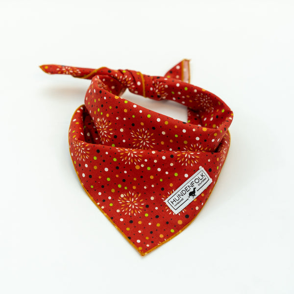 Orange and Copper Retro Print Dog Bandana