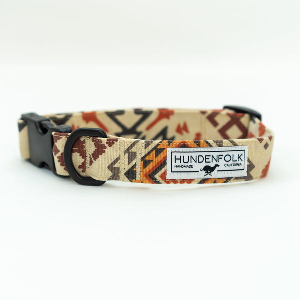 Waxed Canvas Hundenfolk Dog Collar - Southwest Orange