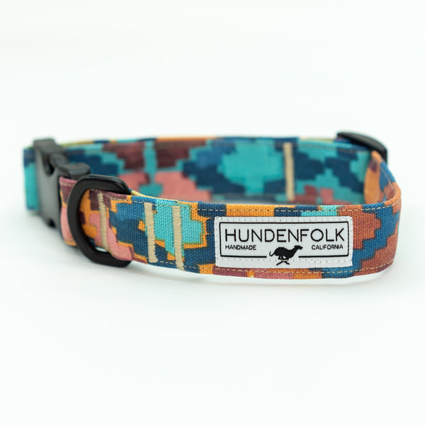 Waxed Canvas Hundenfolk Dog Collar - Southwest Rainbow