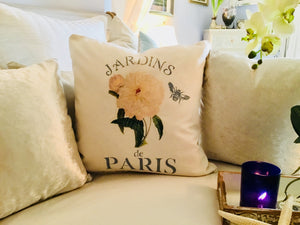 White Peonies Botanical Pillow