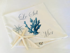 Blue Coral Nautical Pillow