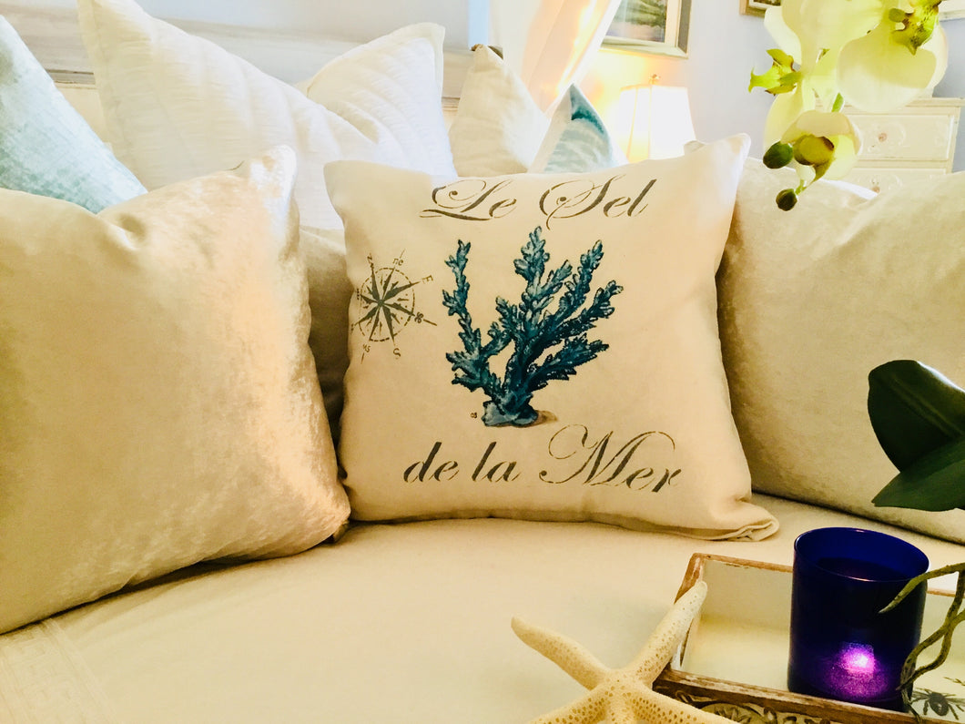 Blue Coral Nautical Pillow Case