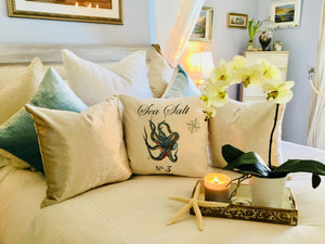 Green Octopus Nautical Pillow Case