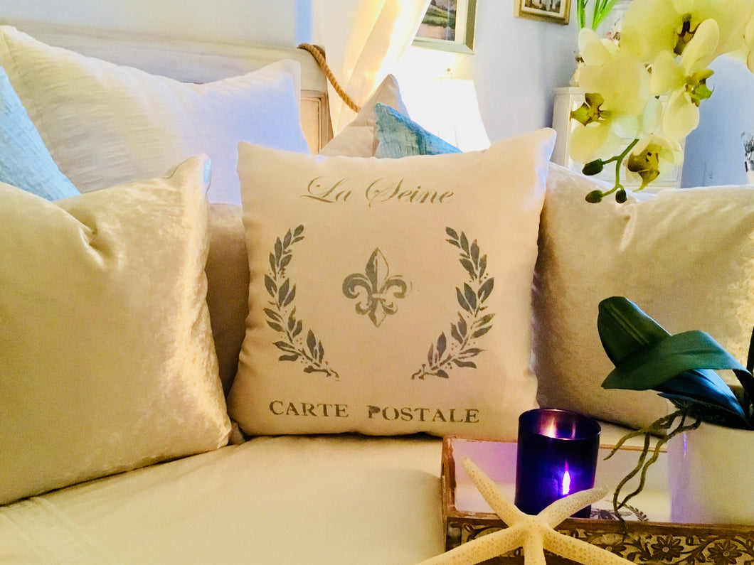 La Seine Stenciled Pillow