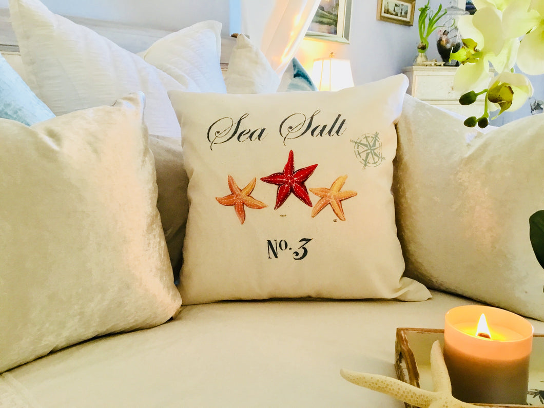 Orange Starfish Nautical Pillow Case