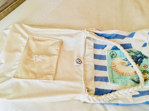 Postcard Periwinkle Striped Shells Travel Tote