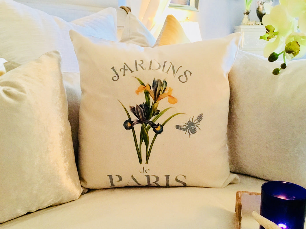 Purple & Yellow Iris Botanical Pillow Case