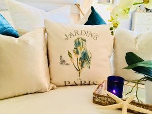 Sweet Blue Iris Botanical Pillow Case