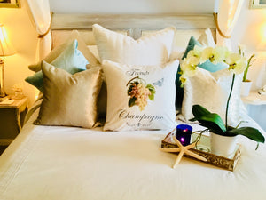 White Champagne Grapes Botanical Pillow