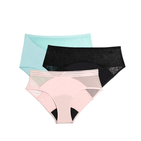 Saalt Wear period underwear in different styles and colors
