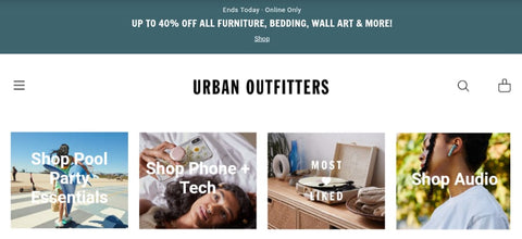 Urban Outfitters webpage