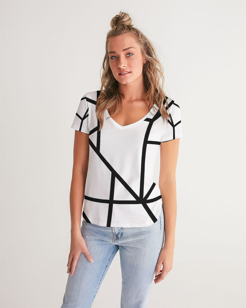 Black/White Women's V-Neck Tee