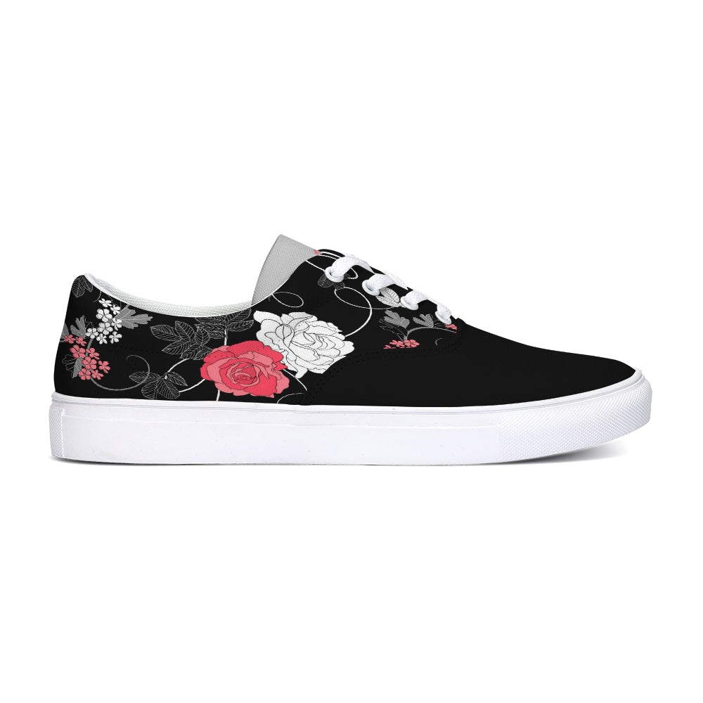 PinkRose Lace Up Canvas Shoe