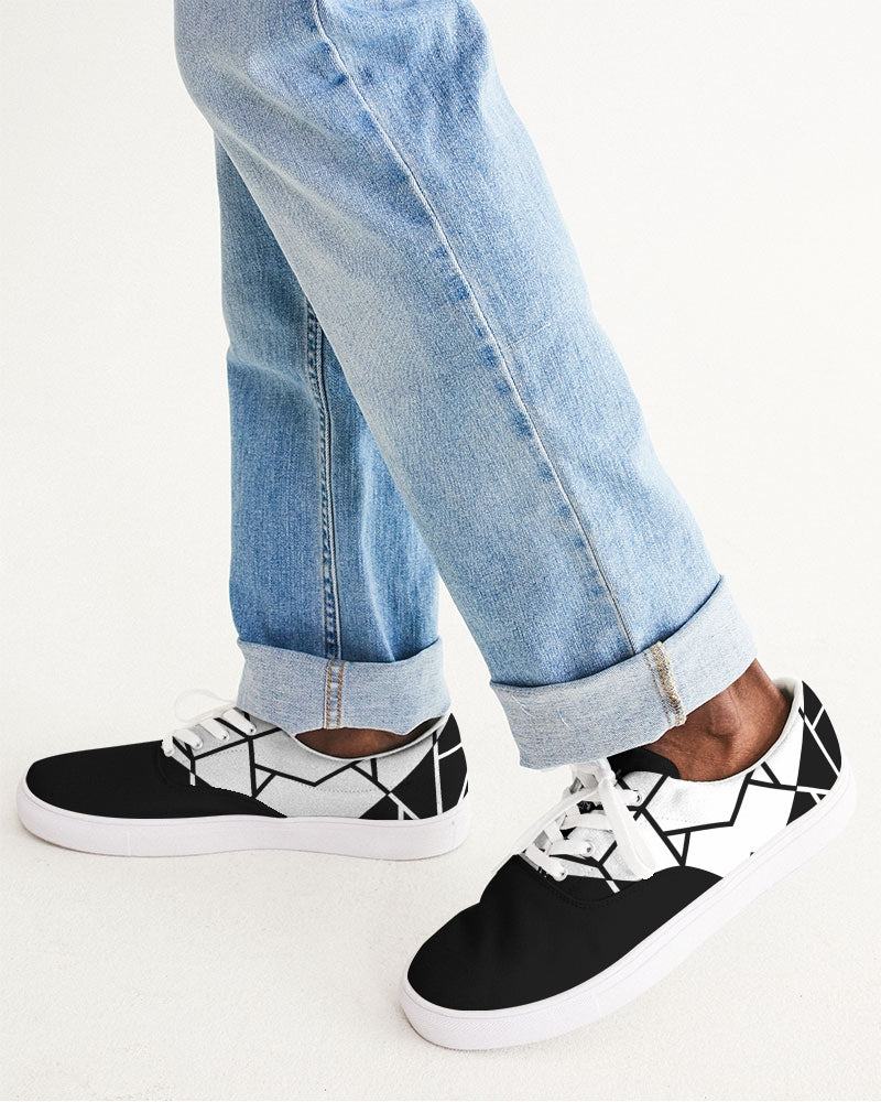Black/White Lace Up Canvas Shoe