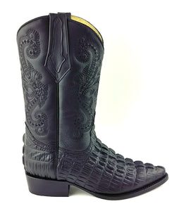 Caiman Tail Print Boots - Black