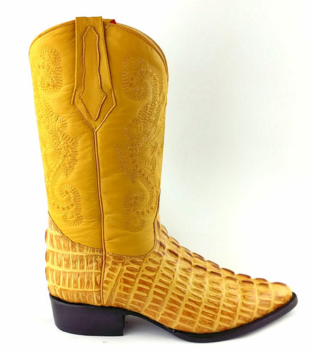 Caiman Tail Print Boots - Gold