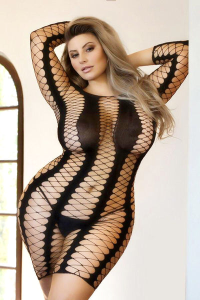 Bold Move Fishnet Bodystocking Dress (Plus Size)