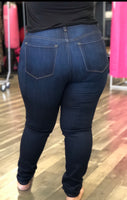 High Waist Dark Blue Denim -Solid