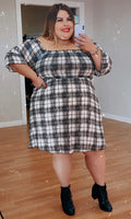 """Check Mate"" Smocking Top A Line Dress (extended size)"
