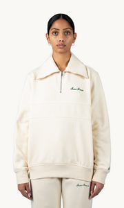 CLASSIC QUARTER ZIP SWEATER - CREAM