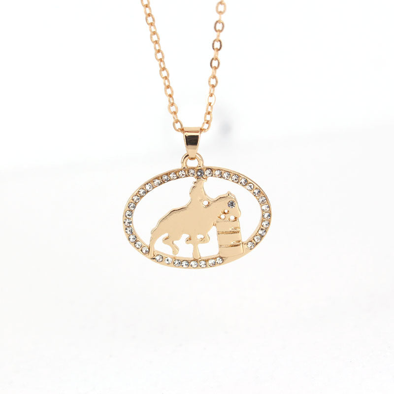 Hzew new oval girl ride horse pendant necklace riding horse hzew new oval girl ride horse pendant necklace riding horse competition necklaces gift mozeypictures Gallery