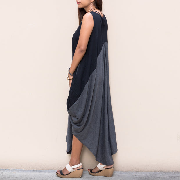 Kaftan Maxi Dress Asymmetrical Cut Grey - Black