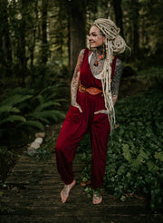 Loose Fit Harem Jumpsuit Baggy Overall Red