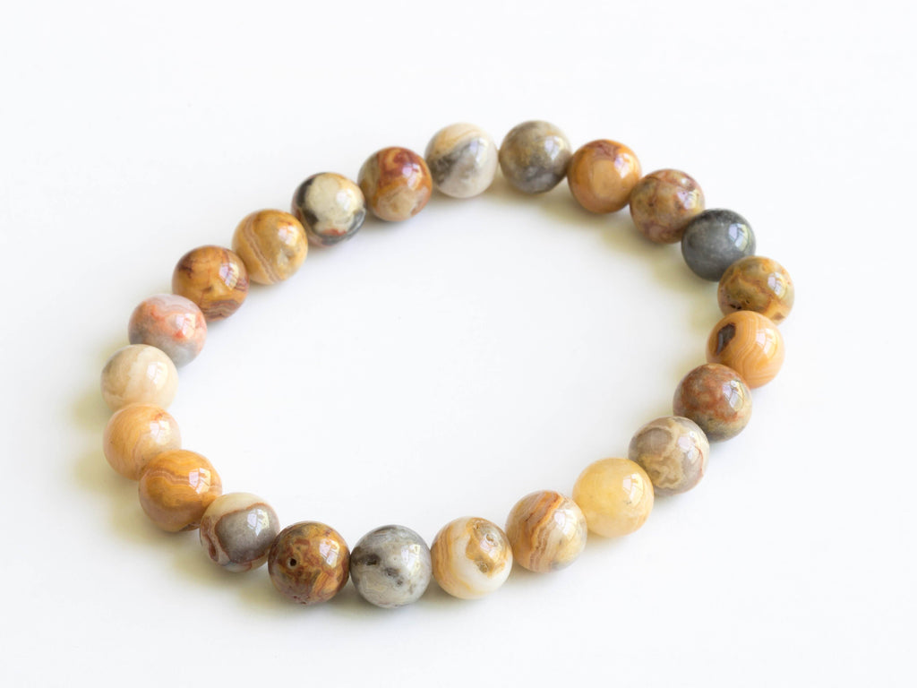 Lucky Stone Bracelet Elastic Crazy Lace Agate '' Laughter Stone''