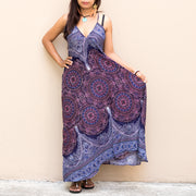 Floral Mandala Maxi Dress One Size Dark Blue