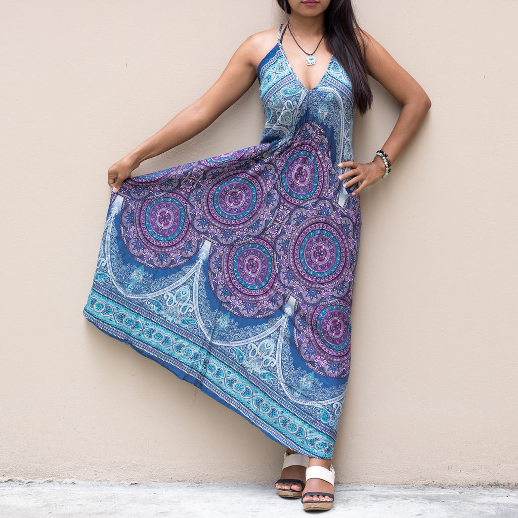 Floral Mandala Maxi Dress One Size Blue Mantra