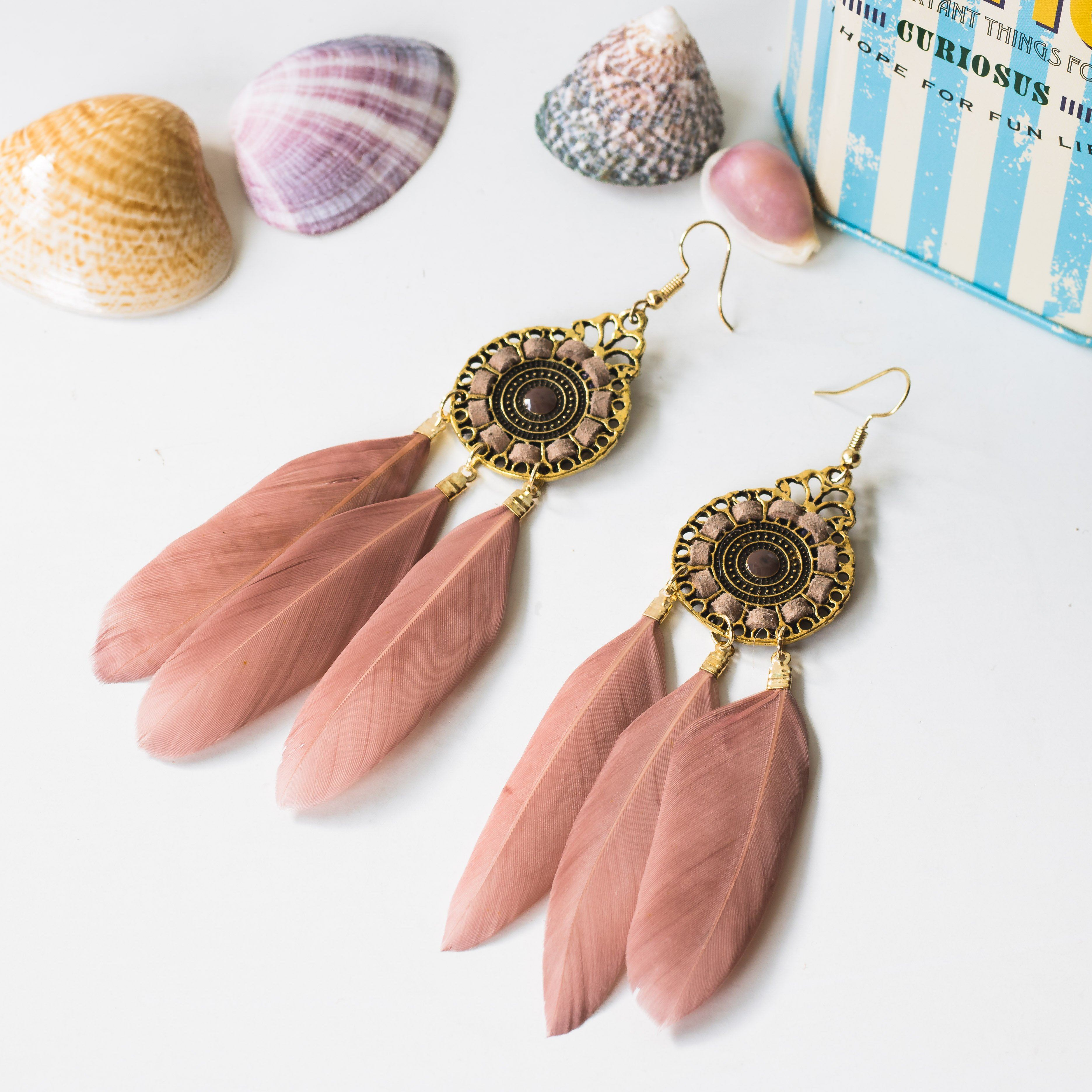 Bohemianr Earrings with Genuine Feather , Boho Style Jewellery