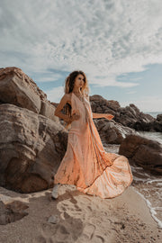 Tie Dyed Maxi Dress Peach