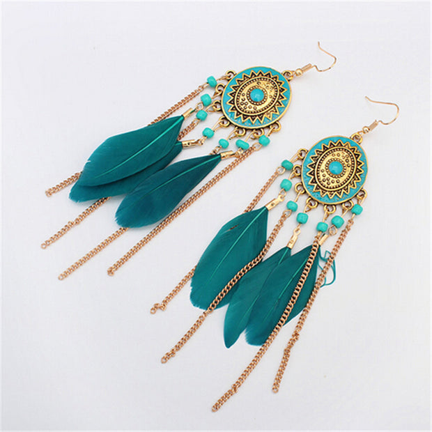 Bohemian Feather Earrings Turquoise
