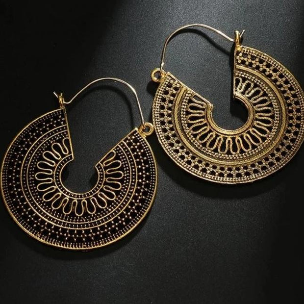 Vintage Mantra Brass Hoop Earrings