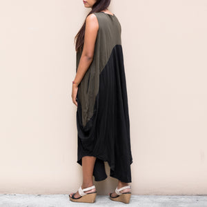 Kaftan Maxi Dress Asymmetrical Cut Black - Olive