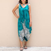 Bohemian Mandala Jumpsuit Dress Turquoise