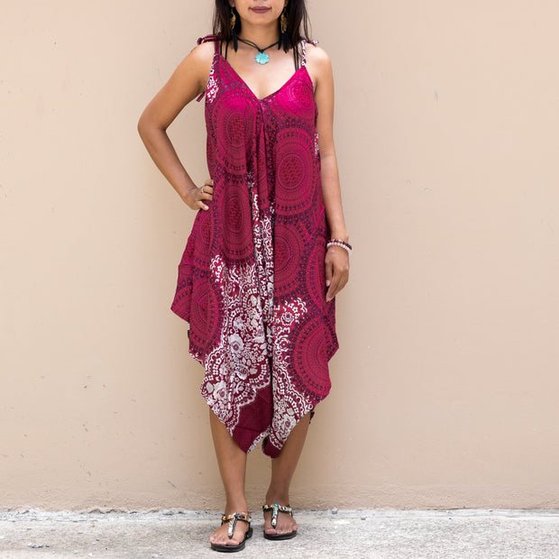 Bohemian Mandala Jumpsuit Dress Ruby Pink